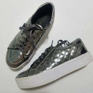 Rebecca Minkoff silver platform sneakers 7